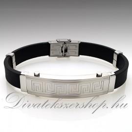 Nemesacél Kaucsuk Karkötő ezüst görög minta