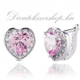szív beszúrós francia kapcsos fülbevaló rózsaszín cirkónia kővel