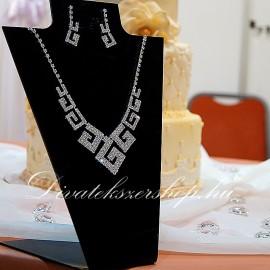 Esküvői - alkalmi nyaklánc szett strassz kövekkel