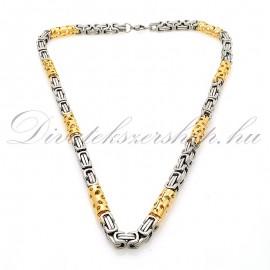 Nemesacél nyaklánc ezüst - arany