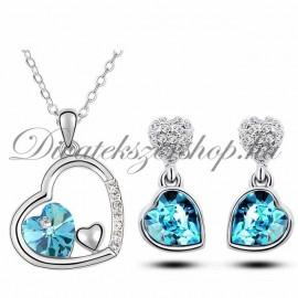 Szív medálos szett kék színű szív kristállyal