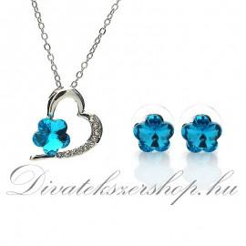 Nvaklánc - fülbevaló szett tűrkíz kék virág kristály
