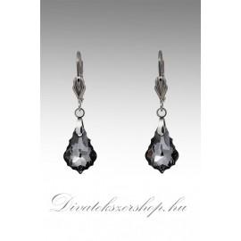 Swarovski kristály fülbevaló barokk füst szín 16mm