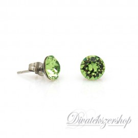 Swarovski kristály chaton beszúrós fülbevaló 8mm - zöld