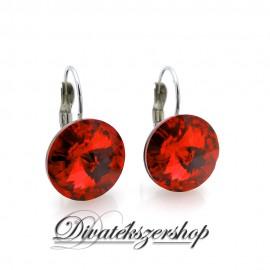 Rivoli Swarovski kristály francia kapcsos fülbevaló piros