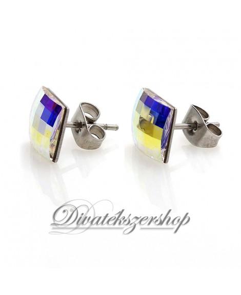 Swarovski kristály beszúrós fülbevaló Sakktábla minta