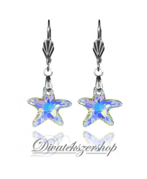 Swarovski kristály fülbevaló tengeri csillag sarki fény