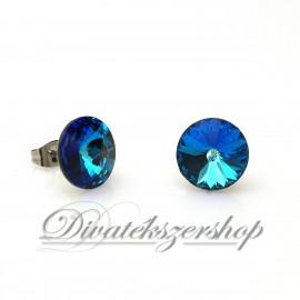 Rivoli beszúrós Swarovski kristály fülbevaló Bermuda kék szín