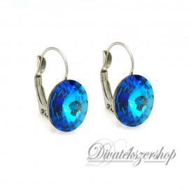 Rivoli Swarovski kristály francia kapcsos fülbevaló Bermuda kék 14mm