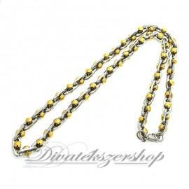Nemesacél férfi nyaklánc divatékszer kis arany színű gömbökkel