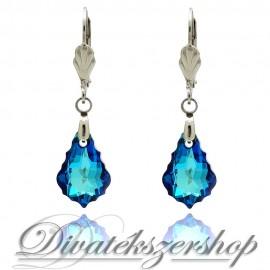 Swarovski kristály Bermuda kék barokk fülbevaló 16mm