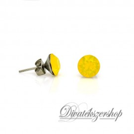 Swarovski kristály chaton beszúrós fülbevaló 8mm - opál sárga