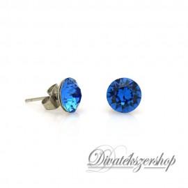 Swarovski kristály chaton beszúrós fülbevaló 8mm - zafír kék