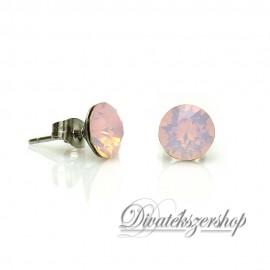 Swarovski kristály chaton beszúrós fülbevaló 8mm - opál rózsaszín