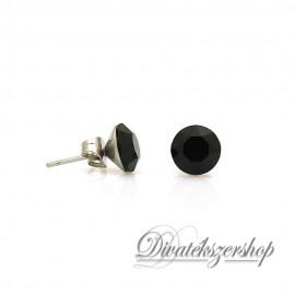Swarovski kristály chaton beszúrós fülbevaló 8mm - fekete