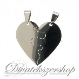 Kettétörhető nemesacél szív medál - ezüst színű gravírozható