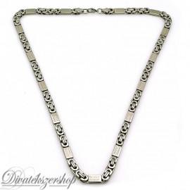Nemesacél nyaklánc ezüst színű, görög mintás betétekkel