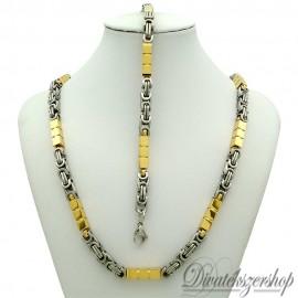 Nemesacél nyaklánc - karkötő szett király fonat, arany színű kocka betétekkel