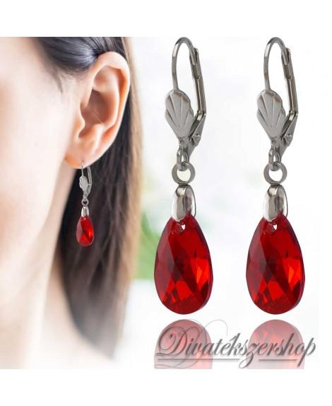 Swarovski kristály körte fülbevaló piros AB 16mm